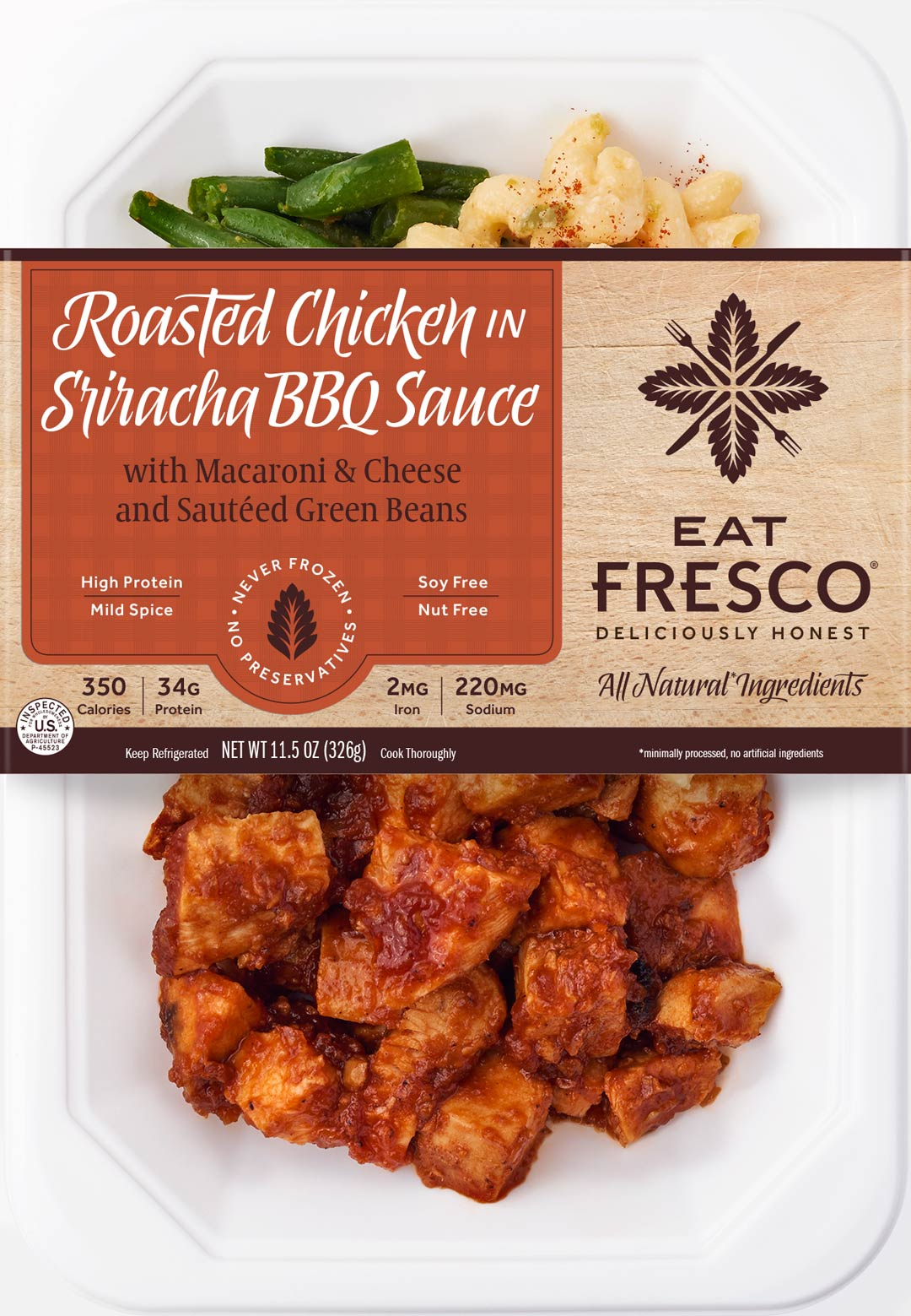 Eat Fresco - Entree - Dinner - Roasted Chicken in Sriracha BBQ Sauce