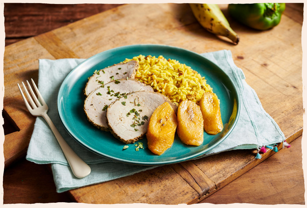 Eat Fresco - Cuban Style Pork with Yellow Rice & Plantains