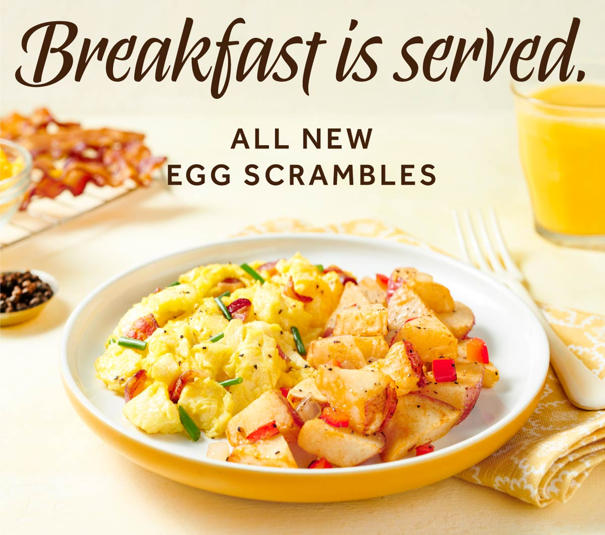 Breakfast is served. Introducing all-new Egg Scrambles!