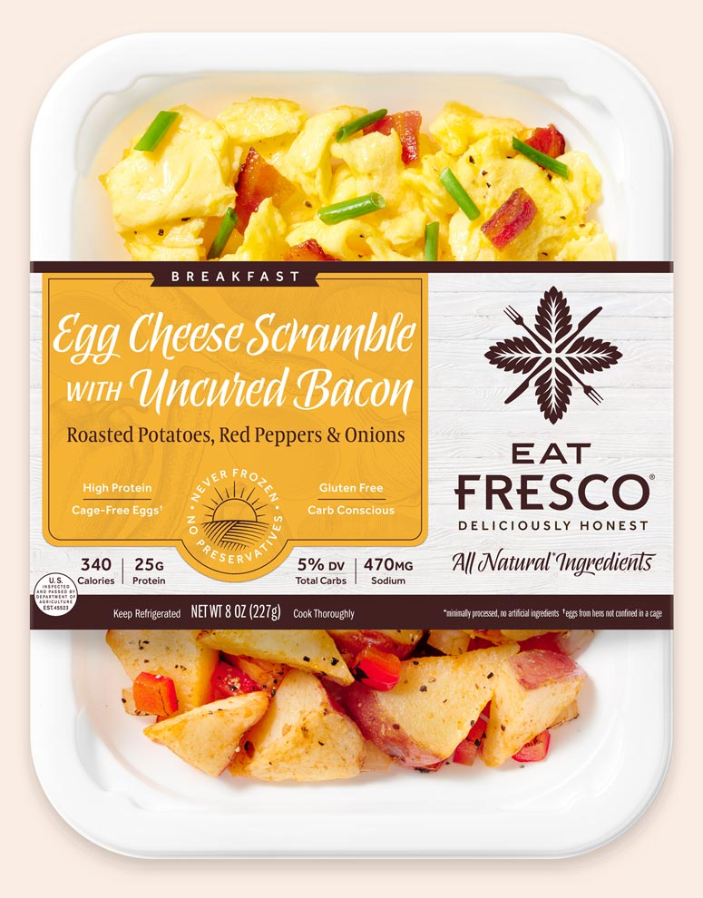 Egg Cheese Scramble with Uncured Bacon - Eat Fresco