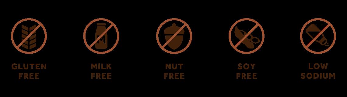 Gluten Free | Milk Free | Nut Free | Soy Free | Low Sodium